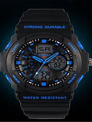 Недорогие -Муж. Модные часы Цифровой силиконовый Черный Аналого-цифровые Черный / Красный Черный / Синий Оранжевый / черный