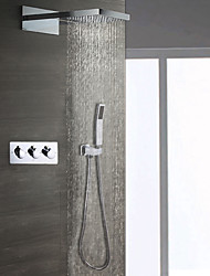 cheap -Contemporary Wall Mounted Rain Shower Handshower Included Ceramic Valve Three Handles Three Holes Shower Faucet