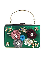 cheap -Women's Rhinestone / Beading / Petal leatherette Evening Bag Flower / Floral Black / Sky Blue / Purple / Embroidery
