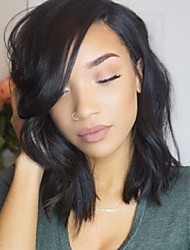cheap -Human Hair Glueless Lace Front / Lace Front Wig Natural Wave Wig 130% Natural Hairline / African American Wig / 100% Hand Tied Women's Short / Medium Length Human Hair Lace Wig