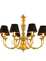 Недорогие -8-Light 88 cm Мини / LED Люстры и лампы Металл Свеча-стиль Латунь Традиционный / классический 110-120Вольт / 220-240Вольт
