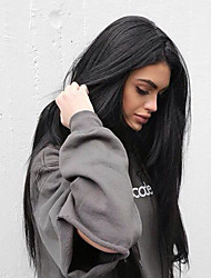cheap -Synthetic Lace Front Wig Straight Kardashian Straight Yaki Side Part Monofilament L Part Lace Front Wig Long Black#1B Synthetic Hair Women's Silky Heat Resistant Natural Hairline Black