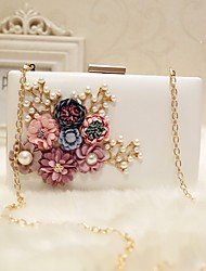 cheap -Women's Flower PU Leather Evening Bag Wedding Bags Solid Colored White / Black / Peach