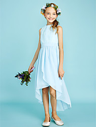 cheap -Sheath / Column Jewel Neck Asymmetrical Chiffon / Lace Junior Bridesmaid Dress with Pleats / Natural