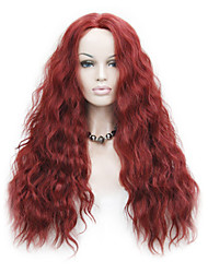cheap -Synthetic Lace Front Wig Wavy Wavy Lace Front Wig Red Synthetic Hair Women's Natural Hairline Red