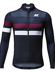 abordables -Mysenlan Homme Manches Longues Maillot Velo Cyclisme Bleu de minuit Cyclisme Maillot Respirable Séchage rapide Des sports Polyester VTT Vélo tout terrain Vélo Route Vêtement Tenue
