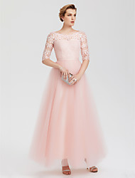 cheap -A-Line Elegant Pink Wedding Guest Formal Evening Dress Illusion Neck Floor Length Lace Over Tulle with Lace Insert Appliques 2020 / Illusion Sleeve