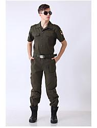 cheap -Men's Hiking Shirt / Button Down Shirts Short Sleeve Outdoor Multi Pocket Clothing Suit Spring Winter Cotton Camping / Hiking Hunting Dark Green
