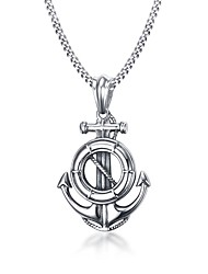 cheap -Men's Pendant Necklace Statement Necklace Logo Anchor Statement Personalized Geometric Unique Design Stainless Steel Titanium Steel Silver Necklace Jewelry For Christmas Gifts Party Birthday Party