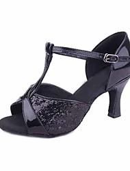 Недорогие -Жен. Танцевальная обувь Блестки Обувь для латины На каблуках Каблуки на заказ Персонализируемая Серебряный / Пурпурный / Темно-коричневый / В помещении / EU39