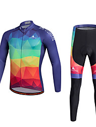 cheap -Miloto Men's Long Sleeve Cycling Jersey with Tights - Red Bike Clothing Suit Sports Polyester Coolmax® Silicon Geometry Mountain Bike MTB Road Bike Cycling Clothing Apparel / Quick Dry / Stretchy
