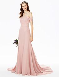 cheap -Sheath / Column Off Shoulder Sweep / Brush Train Chiffon / Floral Lace Bridesmaid Dress with Lace / Sash / Ribbon / See Through
