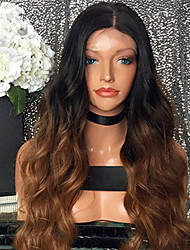 cheap -Human Hair Glueless Lace Front Lace Front Wig Beyonce style Brazilian Hair Body Wave Ombre Wig 180% Density with Baby Hair Ombre Hair Natural Hairline African American Wig 100% Hand Tied Women's