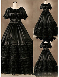cheap -Gothic Victorian Medieval 18th Century Dress Party Costume Masquerade Women's Satin Costume Black Vintage Cosplay Short Sleeve Floor Length Plus Size Customized