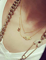 cheap -Women's Crystal Pendant Necklace Pendant Elephant Alloy Gold Necklace Jewelry For Christmas Gifts Wedding Party Special Occasion Birthday Congratulations