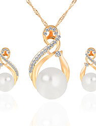 cheap -Women's Jewelry Set Pendant Necklace / Earrings Drop Infinity Ladies Luxury Dangling Pearl Fashion Elegant Crystal Imitation Pearl Rhinestone Earrings Jewelry Gold / Silver For Christmas Gifts