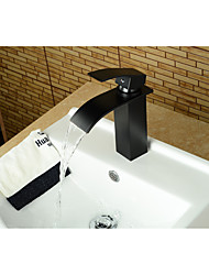 cheap -Bathroom Sink Faucet - Waterfall Oil-rubbed Bronze Centerset Single Handle One HoleBath Taps / Brass