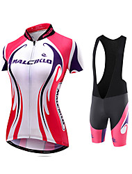 cheap -Malciklo Women's Short Sleeve Cycling Jersey with Bib Shorts Black Plus Size Bike Jersey Tights Bib Tights Breathable Quick Dry Reflective Strips Back Pocket Sports Polyester Coolmax® Lycra Curve