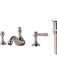 cheap -Bathroom Sink Faucet - Widespread Nickel Brushed Widespread Two Handles Three HolesBath Taps