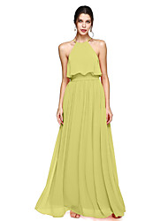 cheap -A-Line Halter Neck Floor Length Chiffon Bridesmaid Dress with Bow(s) / Sash / Ribbon / Open Back
