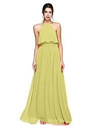 cheap -A-Line Halter Neck Floor Length Chiffon Bridesmaid Dress with Bow(s) / Sash / Ribbon / Open Back