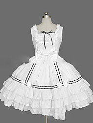cheap -Princess Sweet Lolita Summer Dress JSK / Jumper Skirt Women's Girls' Cotton Japanese Cosplay Costumes Plus Size Customized White / Black / Pink Ball Gown Vintage Cap Sleeve Short Sleeve Short / Mini