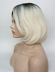 cheap -new arrival short straight dark to blonde ombre bob side swept bangs high heat resistant full synthetic wig