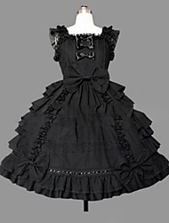 cheap -Princess Gothic Lolita Punk Dress Women's Girls' Cotton Japanese Cosplay Costumes Plus Size Customized Black Ball Gown Vintage Cap Sleeve Sleeveless Short / Mini / Gothic Lolita Dress