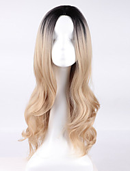 cheap -Synthetic Wig Curly Asymmetrical Wig Blonde Long Blonde Synthetic Hair Women's Natural Hairline Blonde
