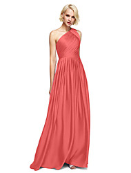 cheap -A-Line One Shoulder Floor Length Satin Chiffon Bridesmaid Dress with Side Draping