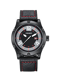 cheap -CAGARNY Men's Casual Watch Sport Watch Fashion Watch Japanese Quartz Leather Black / Red 30 m Calendar / date / day Cool Analog Classic Vintage Casual - Black / Red Red Black / White