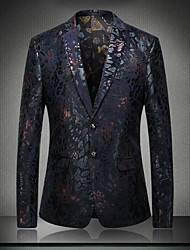 cheap -Men's Sophisticated Blazer V Neck Long Sleeve Cotton / Polyester Sequins / Embroidered / Patchwork Blue / Red / Jacquard