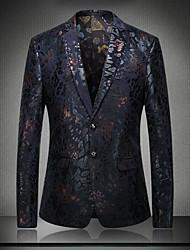 abordables -Homme Sophistiqué Blazer Col en V Manches Longues Coton / Polyester Paillettes / Mosaïque / Jacquard Bleu / Rouge / Brodée