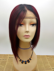 cheap -Remy Human Hair Glueless Lace Front Lace Front Wig Bob Rihanna style Brazilian Hair Straight Ombre Wig 130% Density with Baby Hair Ombre Hair Natural Hairline African American Wig 100% Hand Tied
