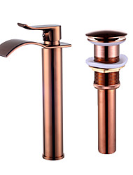 cheap -Faucet Set - Waterfall Rose Gold Centerset Single Handle One HoleBath Taps / Brass