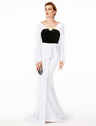 cheap -Mermaid / Trumpet V Neck Sweep / Brush Train Chiffon / Velvet Color Block / Celebrity Style Cocktail Party / Formal Evening / Holiday Dress 2020 with Pleats