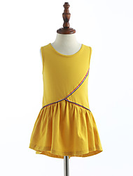cheap -Girls' Ruffle Solid Colored Sleeveless Cotton Dress Yellow