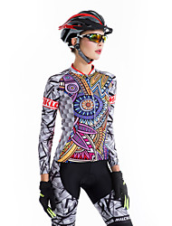 cheap -Malciklo Women's Long Sleeve Cycling Jersey with Tights Winter Fleece Coolmax® Lycra Black Purple Orange Bike Clothing Suit Breathable 3D Pad Quick Dry Back Pocket Sports Patterned Mountain Bike MTB