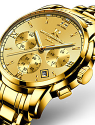 cheap -Men's Wrist Watch Japanese Stainless Steel Gold 30 m Calendar / date / day Noctilucent Day Date Analog Charm Luxury Classic Casual Bangle - Gold Golden yellow Two Years Battery Life