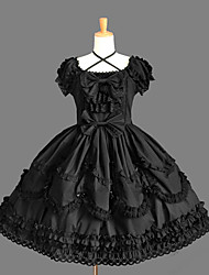 cheap -Princess Gothic Lolita Punk Dress Prom Dress Women's Girls' Cotton Japanese Cosplay Costumes Plus Size Customized Black Ball Gown Solid Color Fashion Cap Sleeve Short Sleeve Short / Mini
