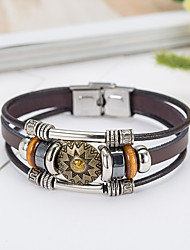 cheap -Men's Leather Bracelet Natural Fashion Leather Bracelet Jewelry Brown For Special Occasion Gift Sports