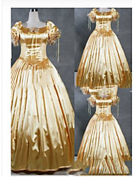 cheap -Gothic Victorian Medieval 18th Century Dress Party Costume Masquerade Women's Satin Costume Gold Vintage Cosplay Party Prom Short Sleeve Floor Length Plus Size Customized