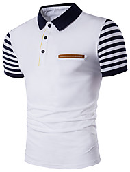 cheap -Men's Daily Active Plus Size Cotton Slim Polo - Striped Shirt Collar White / Short Sleeve / Summer