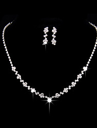 cheap -Women's AAA Cubic Zirconia Jewelry Set Drop Earrings Choker Necklace Simple Style Fashion Elegant Cubic Zirconia Silver Earrings Jewelry Silver For Wedding Party Anniversary Party Evening Engagement