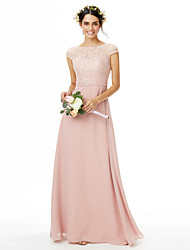 cheap -Sheath / Column Bateau Neck Floor Length Chiffon / Lace Bridesmaid Dress with Beading / Bow(s) / Lace