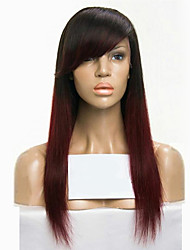 cheap -Human Hair Glueless Lace Front Lace Front Wig Side bangs Rihanna style Brazilian Hair Straight Ombre Two Tone Wig 130% Density with Baby Hair Ombre Hair Natural Hairline African American Wig 100