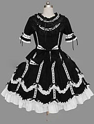 cheap -Princess Gothic Lolita Punk Summer Dress Women's Girls' Cotton Japanese Cosplay Costumes Plus Size Customized Black Ball Gown Vintage Cap Sleeve Short Sleeve Short / Mini / Gothic Lolita Dress