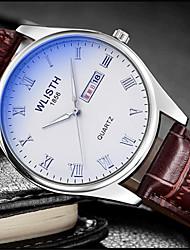 Недорогие -Муж. Модные часы Кварцевый Кожа Коричневый Аналоговый На каждый день - Белый Черный