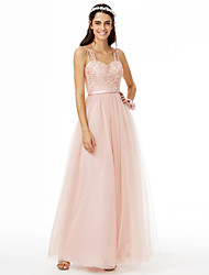 cheap -A-Line Spaghetti Strap Floor Length Lace / Tulle Bridesmaid Dress with Beading / Lace / Sashes / Ribbons / Open Back