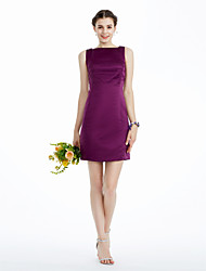 cheap -Sheath / Column Bateau Neck Knee Length Satin Bridesmaid Dress with